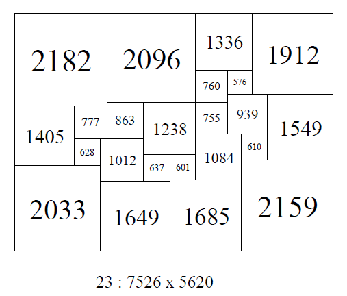 An order 23 SPSR 23 : 7526 x 5620 with ratio of largest element to smallest element of 2182/576 = 3.79